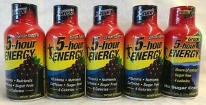 Energy Grape Flavor Sugar Free 5 Hour  Lot of 5 - 1.93 Fl oz Free Ship..