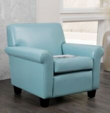 Light Blue Leather Oversized Club Chair Accent Chairs Living Room Furniture NEW