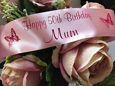 40th 50th BIRTHDAY PERSONALISED RIBBON adult birthday cake, flowers 45mm width