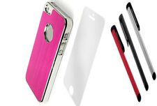 LUXURY  HOT PINK  Brushed ALUMINIUM CHROME Hard Case Cover For iPhone 5 5S  SE
