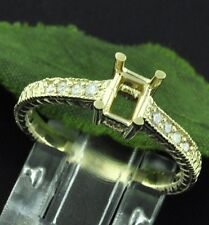 0.15ct 14k Solid Yellow Gold Ladies Semi Mount Natural Diamond Ring Fits 4x6 5x7