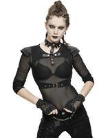 Devil Fashion Womens Dieselpunk Armour Harness Vest Top Black Goth Faux Leather