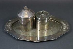 3x Art Deco Metallobjekt versilbert Dose Tablett gepunzt um 1910/20 (CP256)