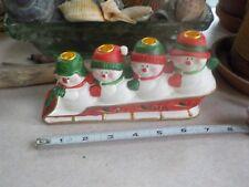 Vintage Ceramic Christmas Snowman Family Sleding 4 Candle Stick Holders