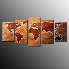 FRAMED Wall Art Home Decor World Map Canvas Painting Print Ready to Hang-5pcs
