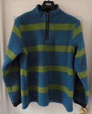M&S Indigo Boy Funnel Neck Stripe Borg Fleece Top, Green Mix, 5-6 years, BNWT
