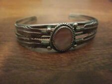 Beautiful Early Rare TOMMY SINGER Navajo TC Sterling Silver M.O.P Cuff Bracelet