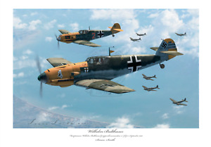 BATTLE OF BRITAIN FIGHTER ACE BALTHASAR BF109E JG3 LIMITED EDITION SIGNED PRINT
