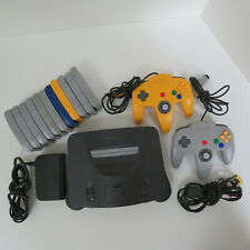 NINTENDO 64, CHARCOAL GRAY GAME CONSOLE, CABLES, 2 CONTROLLERS, 11 GAMES