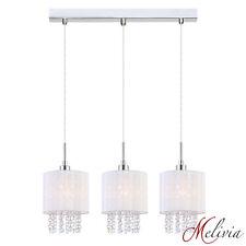 Lampe suspendue 58cm 3x40W Blanc Tissu Cristal Rond Suspension Luminaire Lampe