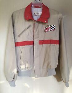 Vintage Miller High Life Racing NASCAR Jacket Mens M Beige zip coat *NEW* 80 90s