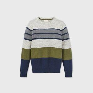 Boys' Holiday Striped Crew Neck Sweater - Cat & Jack Gray/Olive/Navy S 6/7