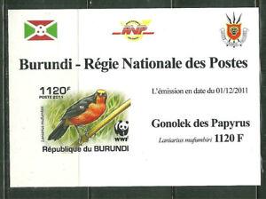 BURUNDI 918 MNH SOUVENIR SHEET WWF BIRDS; LANIARIUS MUFUMBIRI SCV 3.75