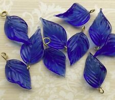 Vintage Leaf Drops,Leaf Charms,Glass Leaves Czech Pressed Sapphire,NOS #1687B