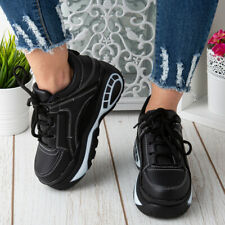 Women Chunky Trainer Ladies Running Gym Goth Punk High Top Lace Up Sneaker Boots