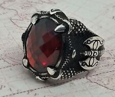 Mens Ring Turkish Red Agate Gemstone War Axe Claw Solid 925 Sterling Silver
