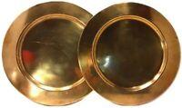 Pair of Metalia APS Decorative Solid Brass Plates Copenhagen Handmade Quality