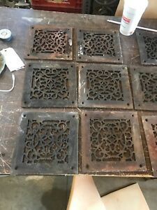 Rl 10 19Av Price each antique cast-iron heating grate face as found 7 7/8 in.²