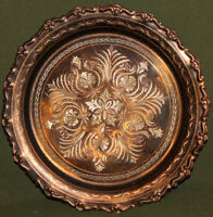 Vintage ornate floral engraved copper wall decor plate