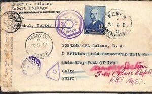 TURKEY Cover WW2 Bebek CENSOR Military GB Forces EGYPT Cairo 1945 F188