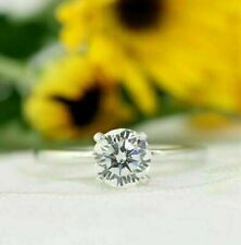 1.6Ct White Round Solitaire Moissanite Four Prong Engagement Ring 14k White Gold