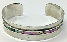 """Cuff Bracelet 25 Grams - 6.25"""" Mexico Sterling Taxco Tc-10 Abalone Shell"""