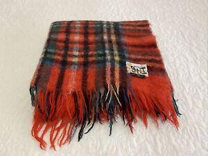 Vintage St Albans Holyrood Mohair Red Tartan Check Fringe Afghan Throw Used