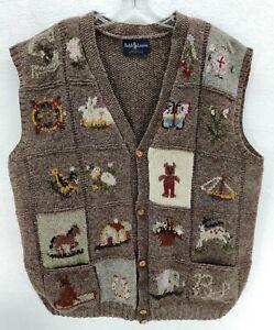Vintage Ralph Lauren RL GREAT BRITAIN Hand Knit Wool Vest Sweater RARE Bear XL