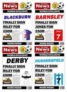 PERSONALISED SPOOF NEWSPAPER FOOTBALL BIRTHDAY CARD - VARIOUS CARDS