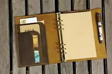 Personalized A5 ring leather binder notebook travel refillable notebook planner