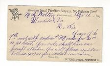 1883, UX7 Postal Card, Advertising, Furniture School Desk, Cincinnati Ohio