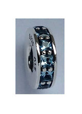 GENUINE PANDORA Silver & Lt Blue Eternity Spacer Charm 791724NBS FREE DELIVERY