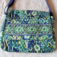 Vera Bradley RHYTHM & BLUES Messenger Bag Blue Green Crossbody Tote RETIRED