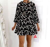 Joe Browns Black Floral Boho Mod Vintage Style Plus Dress 16