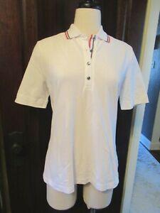 NWT GOLFINO White Cotton Pique Collared Polo L 12 42 Brand New Ladies Golf Shirt