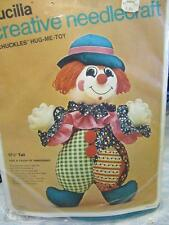 "Bucilla Chuckles The Clown Hug Me Toy Doll 17"" Stuffed Doll Kit Fabric Included"