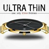Men Trendy Ultra Thin Minimalist Stainless Steel Slim Strap Quartz Watch Gifts