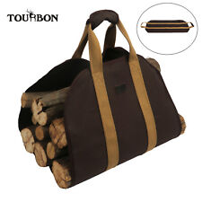TOURBON Heavy Duty Canvas Log Carrier Fireplace Wood Stove Log Holder Camping