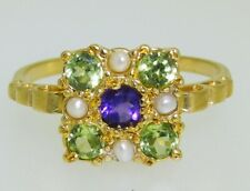 Antique Style Suffragette Yellow Gold on Silver Ring Amethyst Pearl Peridot P