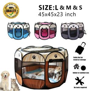 """Pet Puppy Soft Tent Fences 45""""600D Oxford Portable Playpen Dog Cat Folding Crate"""