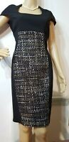 NEW PHASE EIGHT BLOCK EMBELLISHED FITTED DRESS UK 10 US 6 BLACK BROWN 48% POLYE