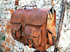 Men's Laptop Bag Real Goat Leather Vintage Brown Messenger Shoulder Briefcase