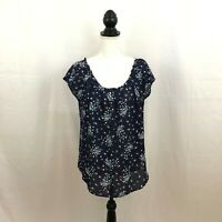 LC Lauren Conrad Womens Navy Blue Size Medium Cap Sleeve Blouse V Back Tie