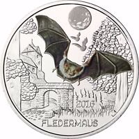 Österreich 3 Euro 2016 Fledermaus Tier Taler Glow in the Dark in Münzkapsel