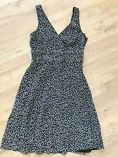 Ann Taylor 100% Silk Sleeveless Summer Dress Black w Off White Flowers Size 6