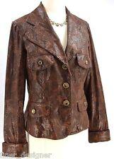 V Christina Jacket Blazer light button coat faux leather reptile jungle SZ S NEW