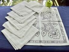 """Set 8 Vintage Unused White Easy Care All Lace Napkins Large Roses Pattern 16"""" sq"""