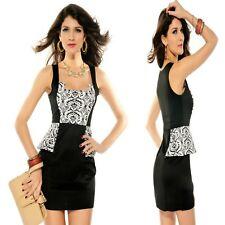 Sz M 10 12 Black White Peplum Sleeveless Cocktail Party Dance Sexy Formal Dress