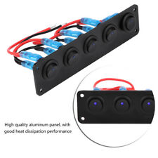 12V/24V 5 Gang Blue LED Rocker Switch Panel Car Marine Boat Circuit Breaker WY