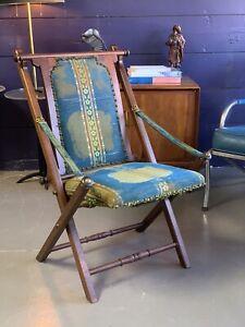 Antique Victorian Boston Furniture Co Campaign Chair, 1868